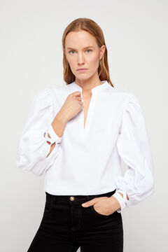 Cortefiel Lettuce edge cuffs top White