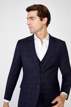 Cortefiel Slim fit checked suit blazer Navy