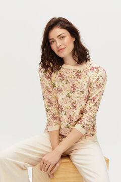 Cortefiel Floral print jumper Beige