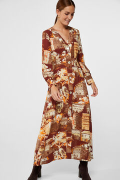 Cortefiel Cities print dress Printed