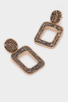 Cortefiel Long geometric earrings  Beige