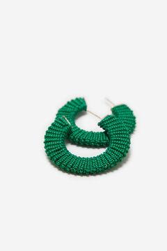 Cortefiel Coloured half hoop earrings Dark green