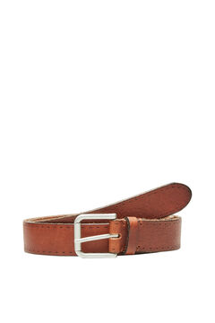 Cortefiel Classic leather belt Tobaco
