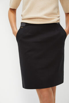 Cortefiel Straight skirt with elasticated waist Black