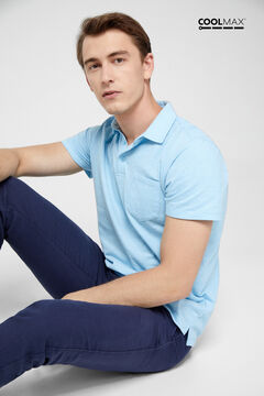 Cortefiel Short-sleeved COOLMAX® polo shirt Blue jeans