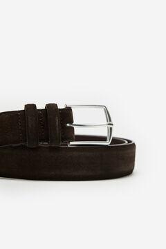 Cortefiel Plain leather belt Dark brown