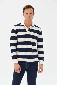 Cortefiel Striped long-sleeved polo shirt Ecru