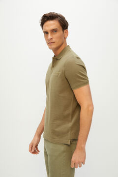 Cortefiel Oxford fabric short-sleeved polo shirt Kaki