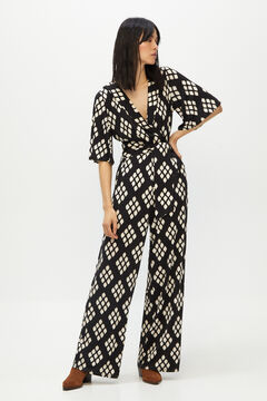 Cortefiel Printed jersey-knit jumpsuit Black