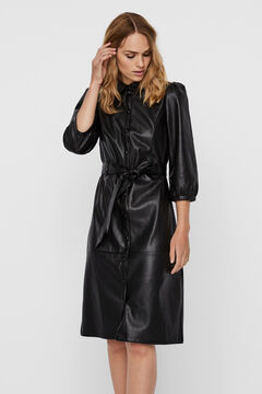Cortefiel Faux leather midi dress with 3/4 sleeves Black