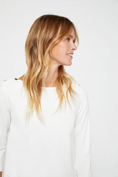 Cortefiel Essential organic cotton boat neck t-shirt White
