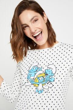 Cortefiel Organic cotton Smurfs print t-shirt Blue
