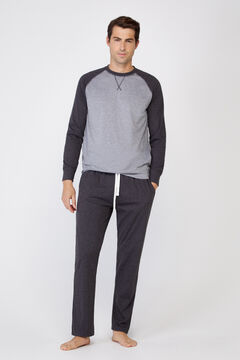 Cortefiel Jersey-knit long pyjamas Gray