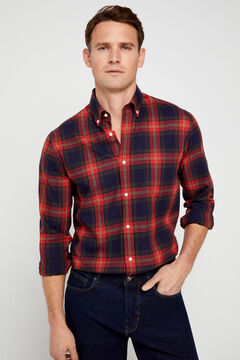 Cortefiel Casual checked organic cotton shirt Red garnet