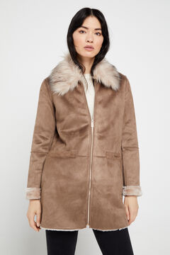 Cortefiel Double-faced coat with collar Beige