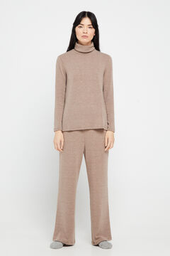 Cortefiel Straight jersey-knit trousers Brown