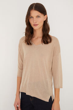Cortefiel Lurex V-neck jumper Brown