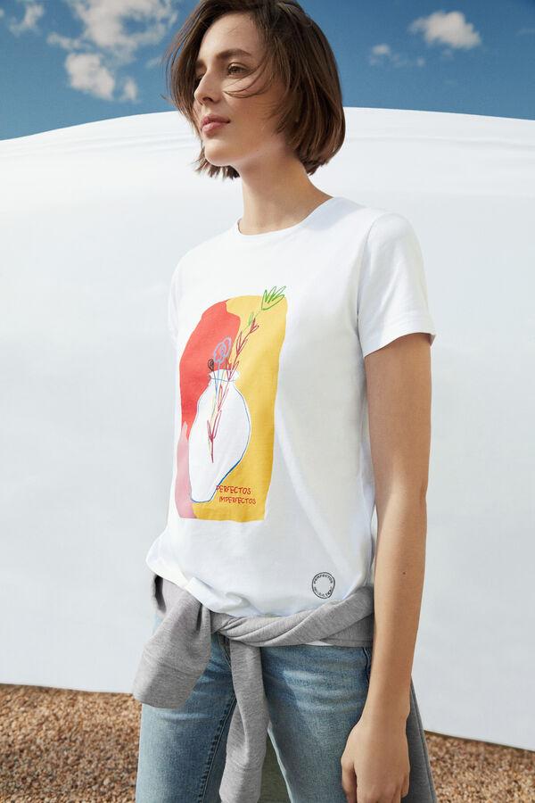 Cortefiel Camiseta estampada Beige