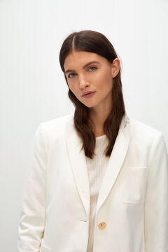 Cortefiel Piqué-knit blazer White