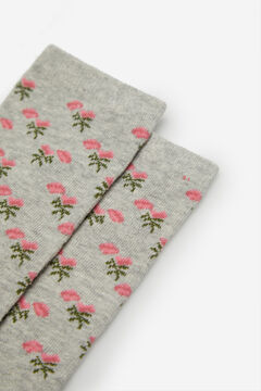 Cortefiel Long rose print socks Grey