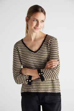 Cortefiel Geometric micro jacquard jumper Black