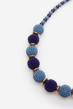 Cortefiel Short beaded necklace Blue