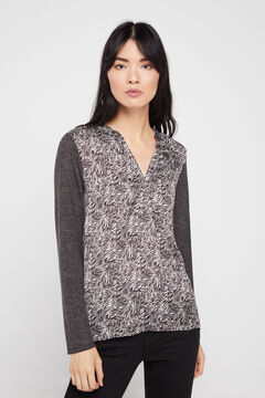 Cortefiel Combined soft feel top Gray