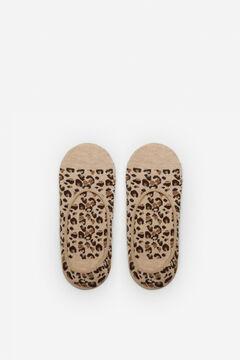 Cortefiel Leopard print no-show socks Stone