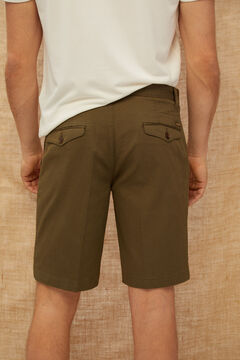 Cortefiel Piqué textured chino Bermuda shorts Dark gray