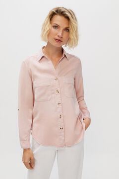 Cortefiel 100% Lyocell cargo shirt Purpura