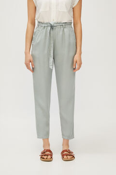 Cortefiel Flowing color trousers 100% Lyocell Green
