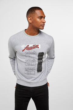Cortefiel Austin cotton sweatshirt Gray