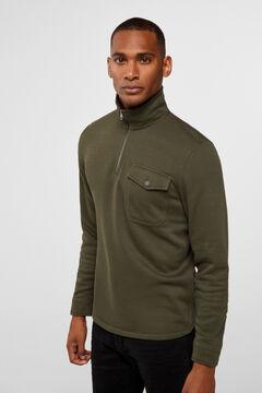 Cortefiel Cotton open roll-neck sweatshirt Dark green