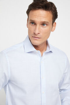 Cortefiel Tailored dress shirt in textured fabric Light blue