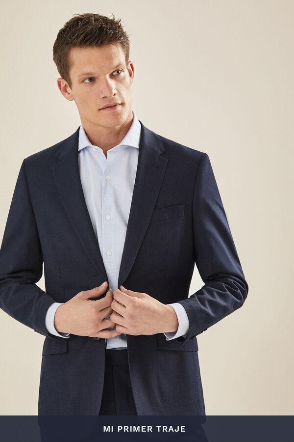 5ccded4420 Cortefiel Americana traje lisa slim fit Azul