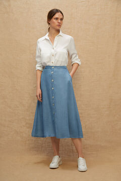 Cortefiel 100% Lyocell layered midi skirt Bluejeans