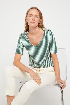 Cortefiel Essential organic cotton V-neck t-shirt Green