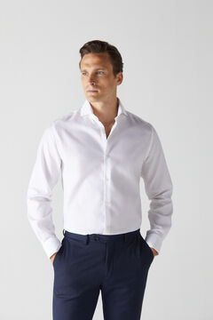 Cortefiel White textured slim fit stain resistant dress shirt White