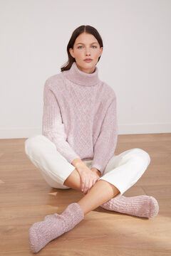 Cortefiel Aran roll neck jumper Pink