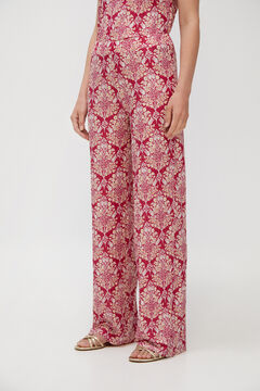 Cortefiel Trousers in jersey-knit fabric with a pleated effect Natural