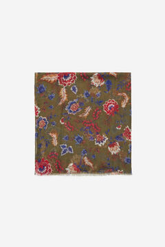 Cortefiel Blue floral print recycled polyester scarf Dark green