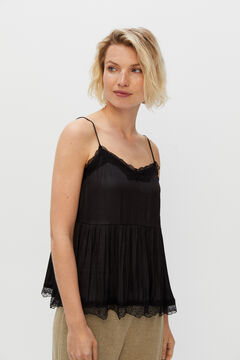 Cortefiel V-neck lingerie top Black