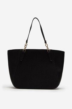Cortefiel Textured tote bag Black