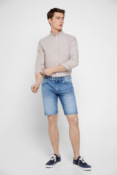 Cortefiel Sustainable wash denim Bermuda shorts Royal blue