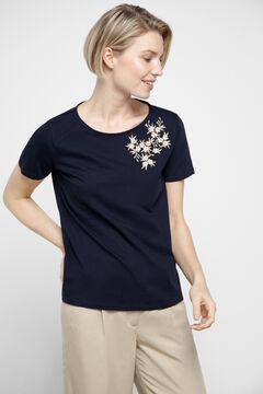 Cortefiel Camiseta lúrex botones Azul
