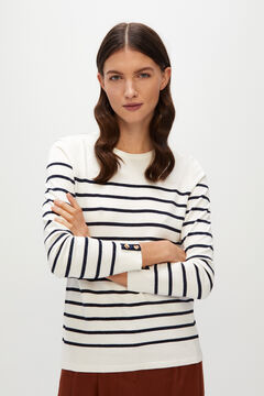 Cortefiel Striped jumper with buttons White