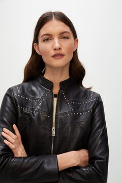 Cortefiel Studded leather jacket Black