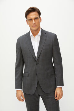 Cortefiel Checked tailored fit suit blazer Gray