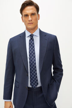 Cortefiel Classic fit birdseye suit blazer Royal blue