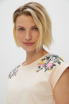 Cortefiel Floral embroidery organic cotton T-shirt Pink